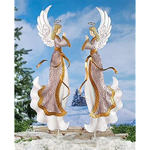 set of 2 elegant praying angels metal stake holiday decor christmas outdoor yard festive decoration - Lighted Christmas Angel Yard Decor