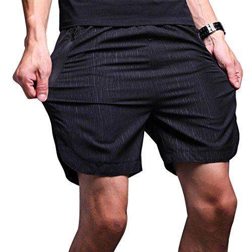 LTIFONE Mens Gym Quick Dry Shorts Workout Training Running Vertical Stripe Shorts with Zipper Pocket (Black,M)