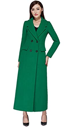 649e293958 Image Unavailable. Image not available for. Color: Chickle Women's Solid Notch  Lapel Double Breasted Walker Long Wool Coat ...