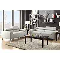 Donata 2-Pc Grey Bonded Leather Sofa Set by Poundex