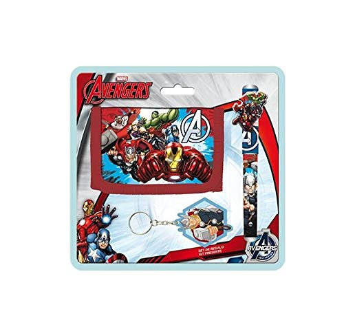 Partylandia Shop- Box con 6 Set Avengers Portafoglio Penna Portachiavi, Multicolore, AS9783