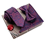Lanburch Fashionable Premium Formal/Informal Ties Set, Necktie/Bow Tie/Pocket Square for Mens/Boys, Paisley Wine