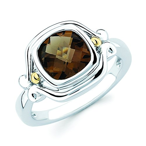 18K Gold and Sterling Silver Smoky Quartz Gemstone Ring