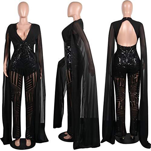 f67ed74c280 OLUOLIN Women s Sexy See Through Mesh Sequin Glitter V Neck Split Floor  Length Sleeve Backless Wide