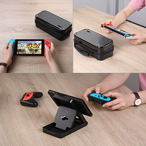 HEYSTOP Case for Nintendo Switch, 11 in 1 Nintendo Switch Carry Case with 2 Joy-con Grips for Nintendo Switch, Adjustable PlayStand, Tempered Glass Screen Protector with 6 Thumb Grip Caps, Black