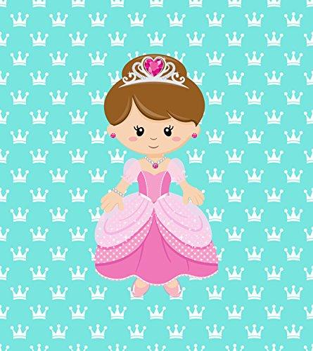 [Princess on Aqua Design, Fabric Panel Printed on Organic Knit, 15 Inches Wide X 19 Inches High (3] (Fairy Princess Costume Diy)