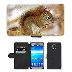 PU LEATHER case coque housse smartphone Flip bag Cover protection // M00113085 Ardilla dulces animales peludos // Samsung Galaxy S5 S V SV i9600 (Not Fits S5 ACTIVE)