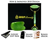 Jade Roller & Gua Sha Massage Tool Set | Luxury Day Spa or Home Use | Gift Box & Velvet Travel Pouch | Anti-Aging & Anti-Wrinkle Skin Rejuvenation for Face & Body | 100% Natural Green Jade Stone