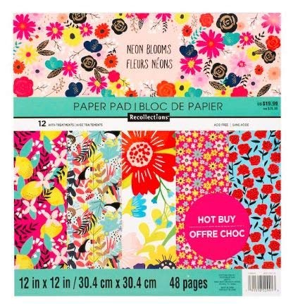 Recollection Neon Bloom Flowers Paper Pad 48 Printed Sheets 12 x 12 Scrapbook (Paper 12' Printed)