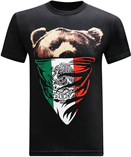 tees geek California Republic (Mexican Flag Bear) Men's T-Shirt - (XXX-Large) - Black]()
