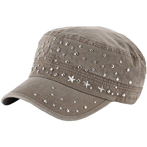 RaOn A135 Star Stud Punk Rock Metal Club Biker Hunting Army Cap Cadet Military Hat (Khaki)