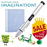 Wokashaka Professional Printing 3D Pen with Display. Super Low-temperature Pen Point Can Be Used on Your Hand. Nurture Your imagination! (Silver-1)