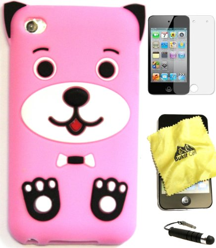 Bukit Cell Bundle 4 Items: Baby Pink 3D Dog Puppy Silicone Skin Case for Ipod Touch 4th Generation + Lint Cleaning Cloth + Screen Protector + Metallic Touch Stylus Pen (Touch Ipod Otter Boxes 4)