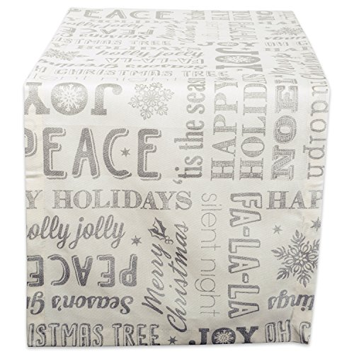 DII 100% Cotton, Machine Washable, Printed Metallic Table Runner For Parties, Christmas & Holidays - 14x72