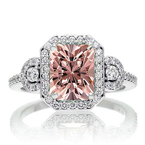 1.5 Carat Emerald Cut Three Stone Morganite Halo Diamond Ring on 10k White...