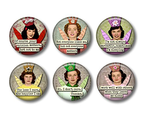 Sarcastic Humor - Fridge Magnets - Funny Magnets - 6 Magnets - 1.5 Inch Magnets - Sarcastic Angels - Retro Kitchen - Gift for Friend