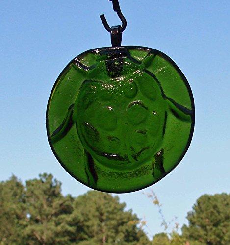 Moss Green Lady Bug Handmade Upcycled Wine Bottle Bottom Sun Catcher Ornament
