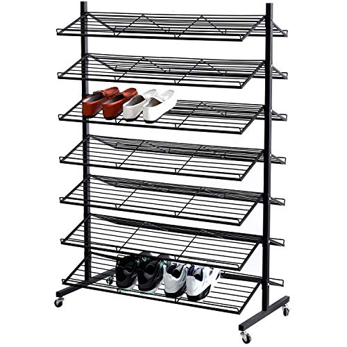MyGift 7-Tier Dual-Sided Rolling Black Metal Shoe Display Rack