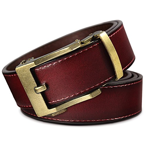 t Click Belt - Lincoln Antique Brass Buckle w/Mahogany Brown Leather Belt (Trim to Fit: Up to 38'' Waist) (Brass And Leather)