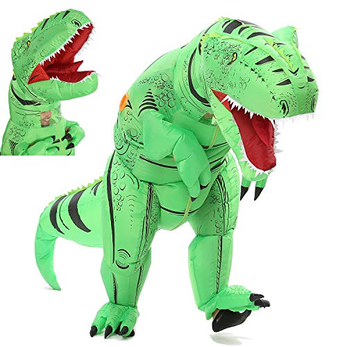 Funny Costumes Inflatable Dinosaur & Unicorn Hoodies Party Dress Halloween Suit (Dino Green L) -