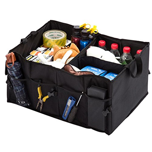 JET-BOND QP05 Trunk Cargo Organizer Heavy Duty Oxford Fabric Basket Foldable Storage Box with Handles Black Square Big Bag (22
