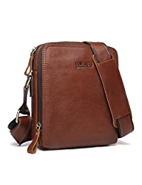 Contacts Wax Leather Mens Messenger Bags CrossBody Bag Tote Handbags Brown