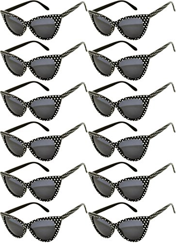 Retro Women's Cat Eye Vintage Sunglasses UV Protection Black Dots Frame Smoke Lens Brand OWL 12 PCS (Slim Cat Eye Sonnenbrille)