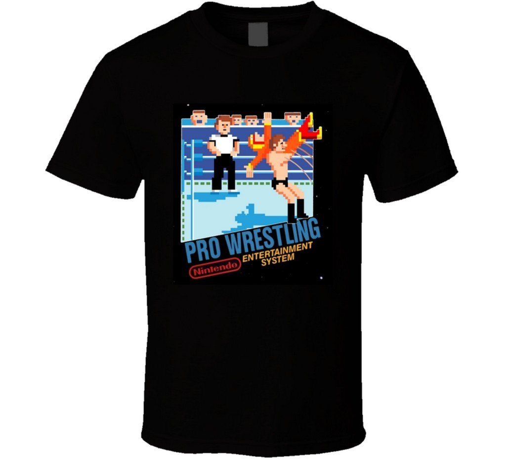 Pro Wrestling NES Box Art T Shirt 2XL Black