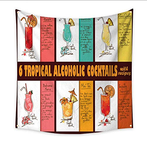 Tapestry Dorm Set of Tropical Alcoholic Cocktails with