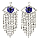 EVER FAITH Women's Austrian Crystal Evil Eye Tassel Curtain Chandelier Earrings Blue Silver-Tone