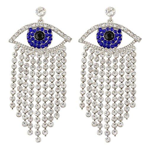 EVER FAITH Women's Austrian Crystal Evil Eye Tassel Curtain Chandelier Earrings Blue Silver-Tone