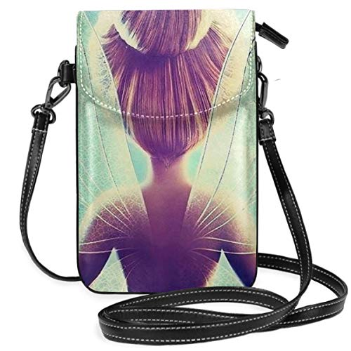 Womens Crossbody Bags - Tinkerbell And Fairy Small Cell Phone Purse Wallet With Credit Card Slots]()