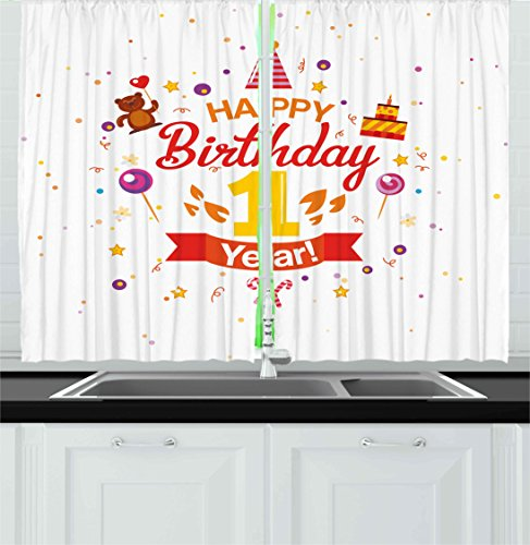 Ambesonne 1st Birthday Decorations Kitchen Curtains, Birthda