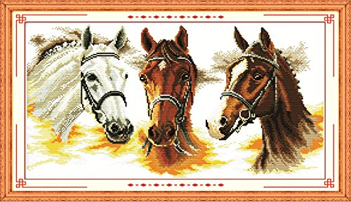 - YEESAM ART New Cross Stitch Kits Advanced Patterns for Beginners Kids Adults - Three Horses 11 CT Stamped 70x41 cm - DIY Needlework Wedding Christmas Gifts