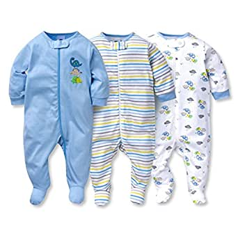 gerber onesies baby boy sleep n 39 play sleepers 3 pack clothing. Black Bedroom Furniture Sets. Home Design Ideas