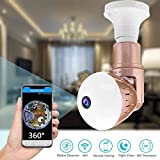 Dome LED Bulb Camera - Wifi IP Hidden Surveillance Cameras 360 Degree 1080P FHD Panoramic with Night Vision Activity Detection Remote Home Security Monitoring Systems for Outdoor Baby Pet Surveillance
