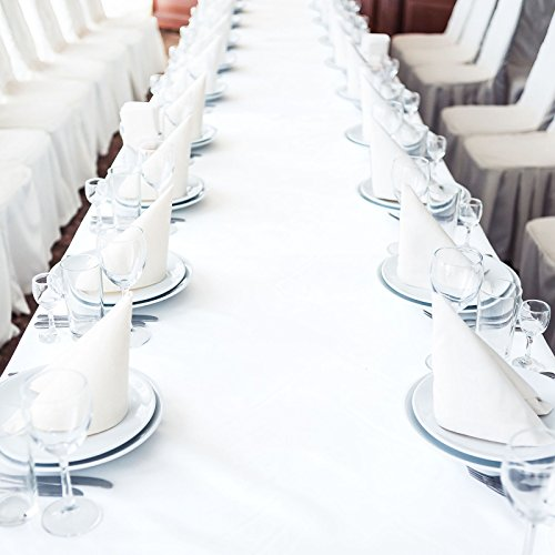 Lann's Linens - 90'' x 132'' Premium Tablecloth for Wedding/Banquet/Restaurant - Rectangular Polyester Fabric Table Cloth - White by Lann's Linens (Image #5)