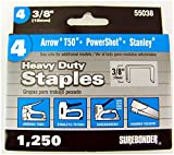 Heavy Duty, Chisel Point, 3/8'' Arrow T50 Type Staple 1250 Count, 5 Pack