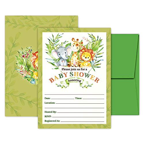 Deluxe Safari Jungle Baby Shower Invitations Gender Neutral for Boys, Girls, or Twins, Kids Party Card Supplies, 20 Double Sided Large 5 x 7 Flat Fill In Invites with Green Envelopes -