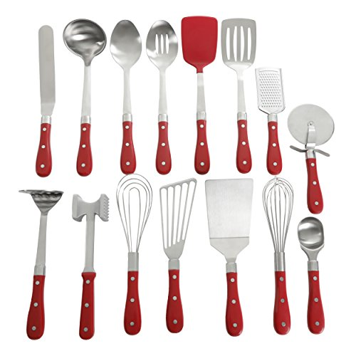 Gibson Spoon Steel Stainless (Pioneer Woman Frontier Red 15 Pc Set Kitchen Tool Stainless Steel Spoon Whisk Spatula Set)