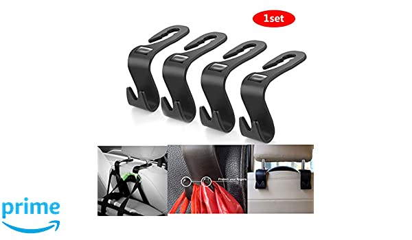 Car SUV Back Seat Universal Organizer Hanger Storage Hook Black Universal Car Headrest Hangers,Hold Up to 40 lb FLYPIG Headrest Hooks for Car Set of 4
