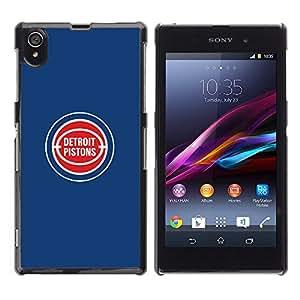 Detroit Piston - Baloncesto - Metal de aluminio y de plástico duro Caja del teléfono - Negro - Sony Xperia Z1 L39