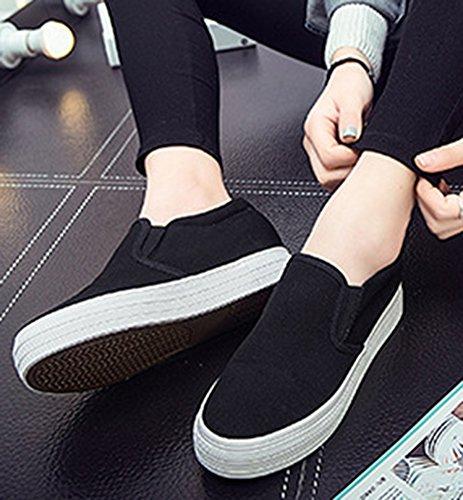 Idifu Kvinna Höja Hög Plattform Tygskor Halka På Sneakers Svart