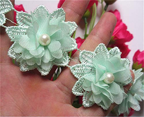 (20pcs Flower Pearl Beads 3D Chiffon Floral Lace Ribbon Edge Trim 2 inch Width Vintage Style Edging Trimmings Fabric Embroidered Applique Sewing Craft Wedding Bridal Dress Decoration DIY (Green))