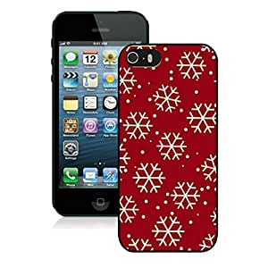 Iphone 5S Case, White Christmas Snowflake red design Iphone 5s Case - Black Frame Ultra Fit Hard Case Shock-Absorption Bumper with Anti-Scratch Hard Case for iPhone 5/5S