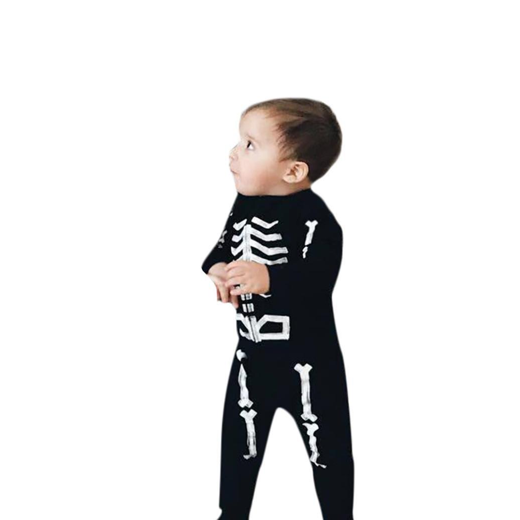 OdeJoy 2 Stück BabyMädchen Junge Knochen Oberteile + Hose Halloween Kleider Outfits Einstellen Skeleton Printing Top + Pants Two Piece Suit Streifen mit Kapuze Kletteranzug