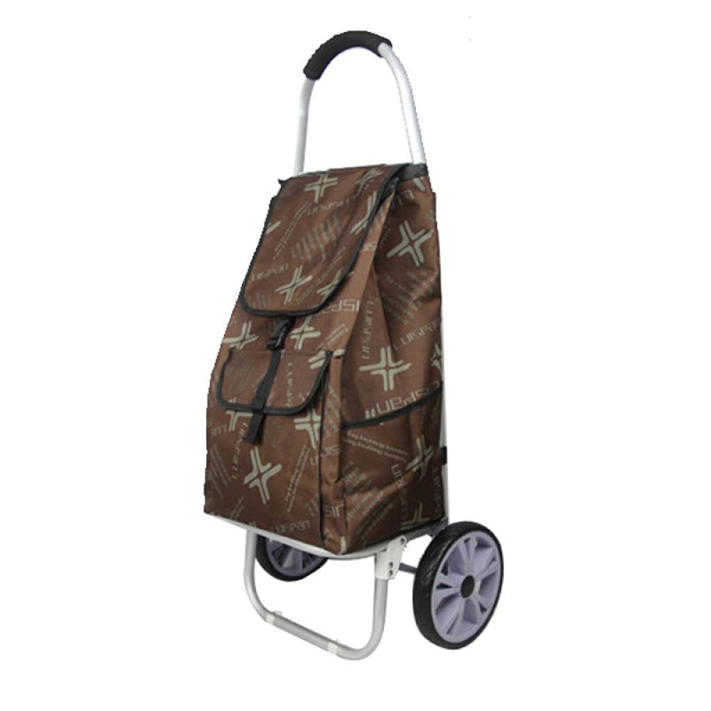 ショッピングカート折りたたみ式ポータブル、ホイールバッグ付きショッピングカート取り外し可能な荷物食料品トロリー44×34×101cm A +(カラー:ブラウン) B07SM6WCXX Brown