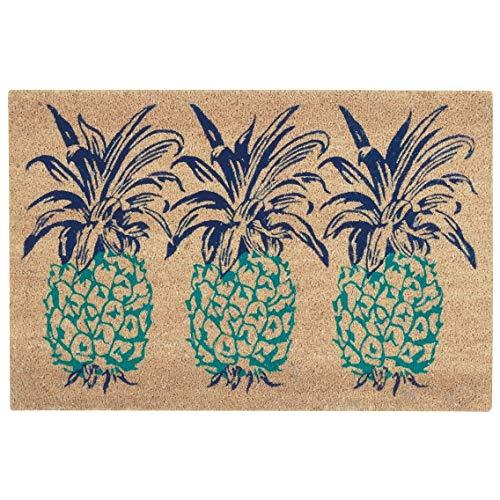 MISC Pineapple Doormat Outdoor, Aqua Blue Three Pineapples Print Front Door Mat Tropical Fruit Theme Rug, Natural Beach Coastal Nautical Accent Durable Entryway Carpet, 2' x 3' ()