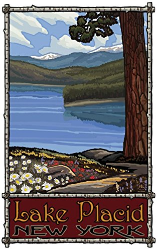 Lake Placid New York Garden Path Travel Art Print Poster by Paul A. Lanquist (24