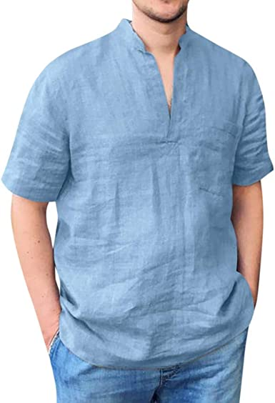 Camisa de Manga Corta de Hombres Lino de algodón Blusa Moda ...